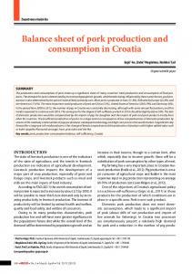 Balance sheet of pork production and consumption in Croatia