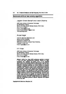 Balanced artificial bee colony algorithm Jagdish Chand Bansal* and ...