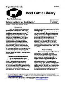 Balancing diets for beef cattle - OSU Blogs - Oregon State University