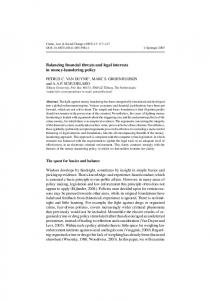 Balancing financial threats and legal interests in money-laundering ...