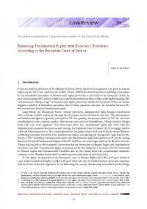 Balancing Fundamental Rights with Economic ... - Utrecht Law Review