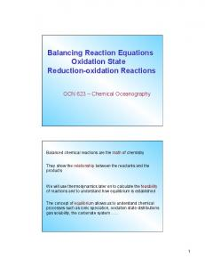 Balancing reaction equations, oxidation state, redox reactions