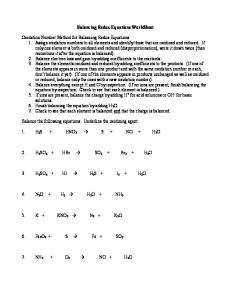 Review: Worksheet on Balancing Redox Equations - MAFIADOC.COM