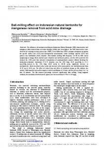 Ball-milling effect on Indonesian natural bentonite for manganese