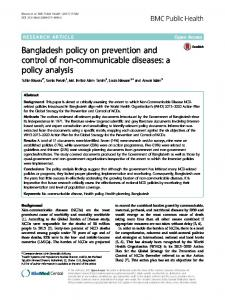 Bangladesh policy on prevention and control of ... - BMC Public Health