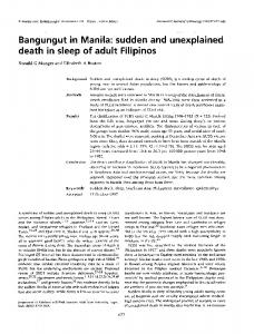 Bangungut in Manila: sudden and unexplained death in sleep of adult ...