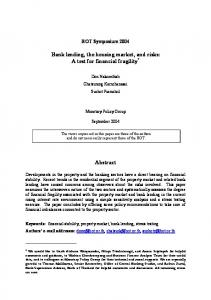 Bank lending, the housing market, and risks: A test for ... - CiteSeerX