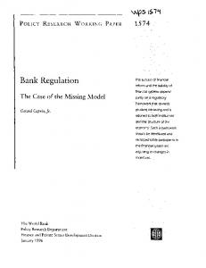 Bank Regulation - World Bank Documents