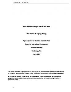 Bank Restructuring in Post-Crisis Asia Don ... - Harvard University