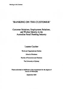 banking on the customer