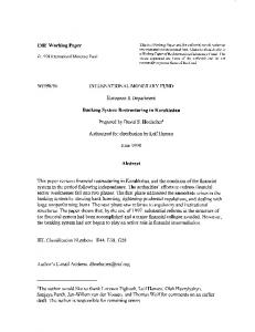 Banking System Restructuring in Kazakhstan - WP/98/96 - IMF