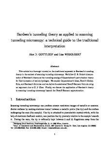 Bardeen's tunneling theory as applied to scanning ... - Dr Alex Gottlieb
