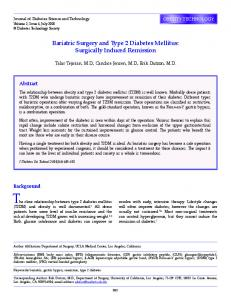 Bariatric Surgery and Type 2 Diabetes Mellitus: Surgically Induced ...