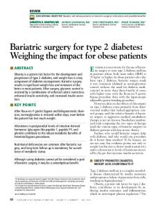 Bariatric surgery for type 2 diabetes: Weighing the impact ... - CiteSeerX