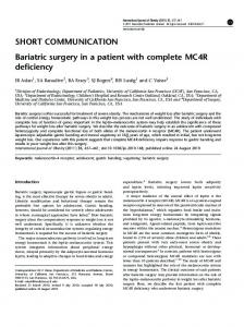 Bariatric surgery in a patient with complete MC4R deficiency - Nature