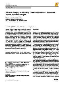 Bariatric Surgery in Morbidly Obese Adolescents: a