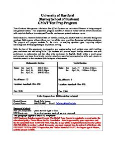 (Barney School of Business) GMAT Test Prep Program