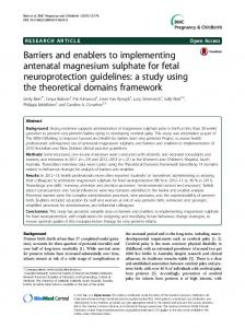 Barriers and enablers to implementing antenatal