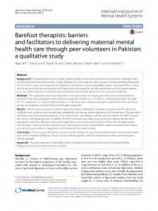 barriers and facilitators to delivering maternal mental health care ...