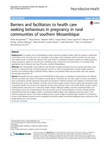 Barriers and facilitators to health care seeking ... - Springer Link