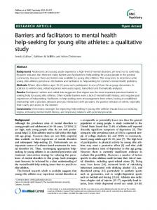 Barriers and facilitators to mental health help ... - BMC Psychiatry