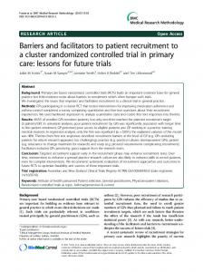Barriers and facilitators to patient recruitment to a cluster randomized ...