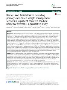Barriers and facilitators to providing primary care