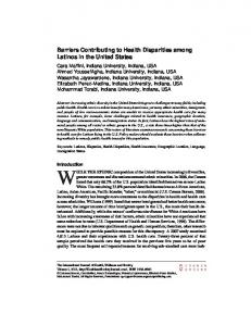 Barriers Contributing to Health Disparities among ...