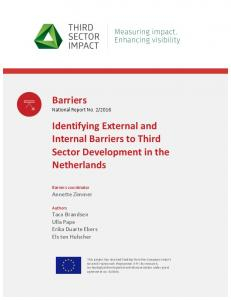 Barriers Identifying External and Internal Barriers ... - Third Sector Impact