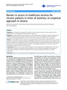 Barriers in access to healthcare services for chronic ... - Springer Link