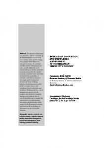 BARRIERS IN INNOVATION AND KNOWLEDGE MANAGEMENT IN ...