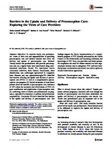 Barriers in the Uptake and Delivery of Preconception Care: Exploring ...