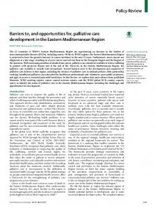 Barriers to, and opportunities for, palliative care ... - The Lancet