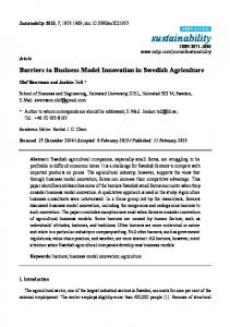 Barriers to Business Model Innovation in Swedish Agriculture - MDPI