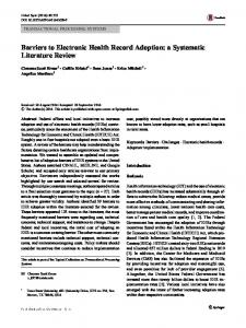 Barriers to Electronic Health Record Adoption: a ... - Semantic Scholar