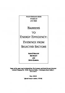 barriers to energy efficiency - The Economic and Social Research ...