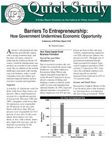 Barriers To Entrepreneurship: - Institute for Policy Innovation