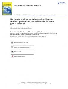 Barriers to environmental education: How do teachers