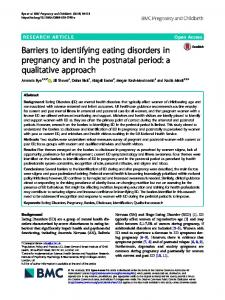 Barriers to identifying eating disorders in pregnancy and in the ...