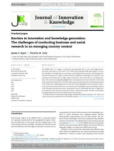 Barriers to innovation and knowledge generation: The ...