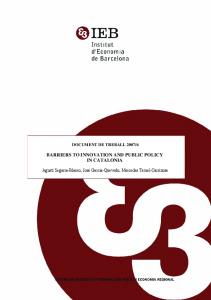 barriers to innovation and public policy in catalonia - Institut d ...
