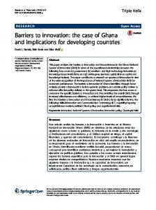 Barriers to innovation: the case of Ghana and ... - Semantic Scholar