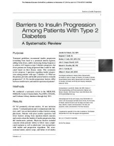Barriers to Insulin Progression Among Patients With Type 2 Diabetes
