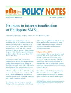 Barriers to internationalization of Philippine SMEs
