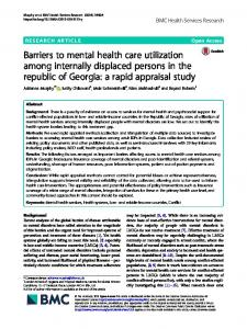 Barriers to mental health care utilization among internally displaced ...