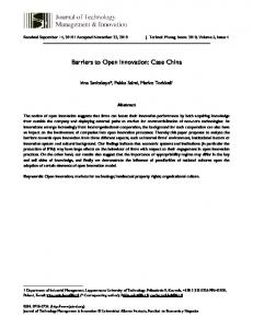 Barriers to Open Innovation: Case China - SciELO