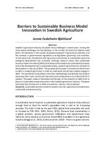 Barriers to Sustainable Business Model Innovation in Swedish ... - cejsh
