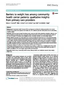 Barriers to weight loss among community health center ... - Springer Link