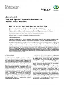 BAS: The Biphase Authentication Scheme for Wireless Sensor Networks