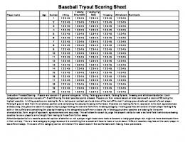 Baseball Tryout Scoring Sheet